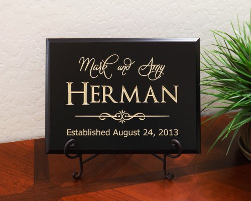 Personalized Sign with Names of Couple, Quickier Font, Last Name and Date Established Decorative Carved Wood Sign Quote, Black (Please Sign Date And Mail)