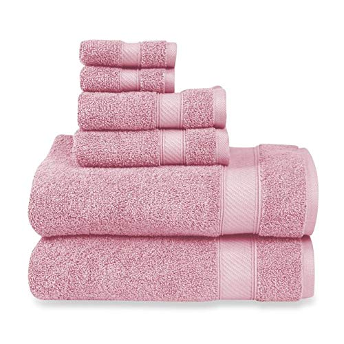 Wamsutta 6-Piece Hygro Duet Bath Towel Set Includes Washcloths,Hand Towels Bath Towels (Rose Quartz)