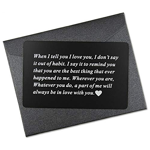 Vanfeis Engraved Metal Wallet Mini Love Note Insert Card - Birthday Gifts for Men, Him - Wedding Anniversary Gifts for Husband, Boyfriend - Unique Engagement Present for Groom, Deployment Gift Ideas (Happy Birthday To My Husband And Father)