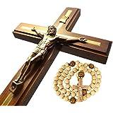 "Handmade Wall Cross Wooden Catholic Wall Crucifix - Home Wall Decor Hanging Cross 12"""
