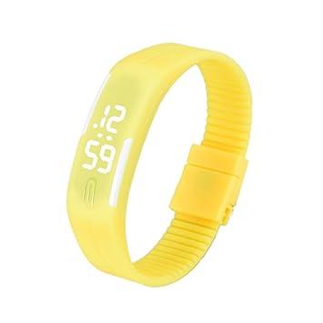 Culater®® Para Mujer para Hombre De Goma Reloj Llevado Reloj Digital De Pulsera Fecha Deportes (Amarillo): Amazon.es: Deportes y aire libre