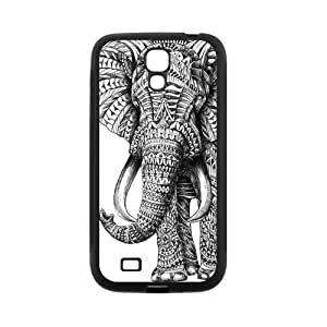 Black and White Aztec Elephant Protective Rubber Cover Case for SamSung Galaxy S4 by Maris's Diary