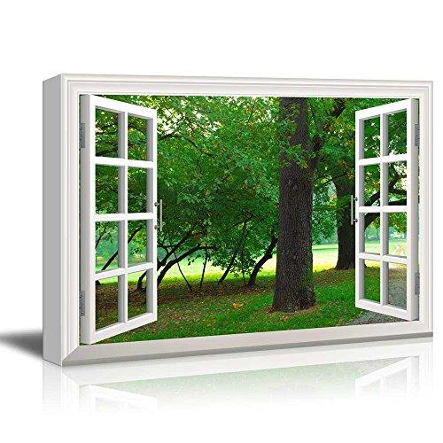 Creative Window View Park in Autumn