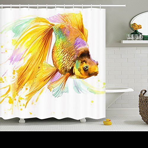 Dolphins Gold Two (Shower Curtains Design Gold Fish Tshirt Graphics Watercolor Dolphin 72x72 Inches Home Decorative Waterproof Polyester Fabric Decor Bathroom Bath Curtain)