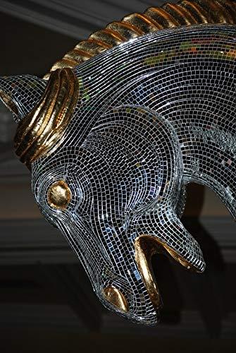 Canvas Print Sculpture Horse Mosaic Tiles Art Mirrors Vivid Imagery Stretched Canvas 32 x 24 ()