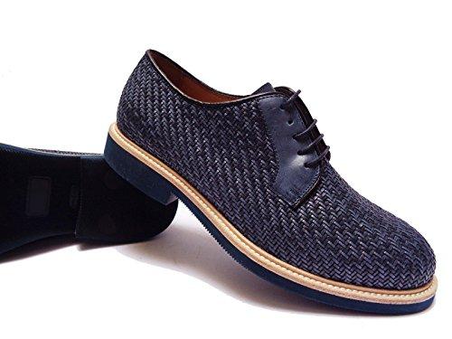 Antica Cuoieria scarpe da uomo in pelle intrecciata Blu fondo in micro-gomma leggera, num. 41