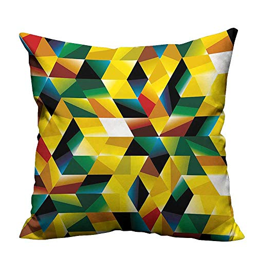 (YouXianHome Decorative Throw Pillow Case Dimensi al Geometric and Triangl Yellow Dark Green Ideal Decoration(Double-Sided Printing) 20x35.5)
