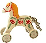 Hand-painted Horse on Wheels - Natural Waldorf Wooden Pretend Play Toy - Eco-Friendly Gift For Children in a canvas sack - Montessori Toy offers