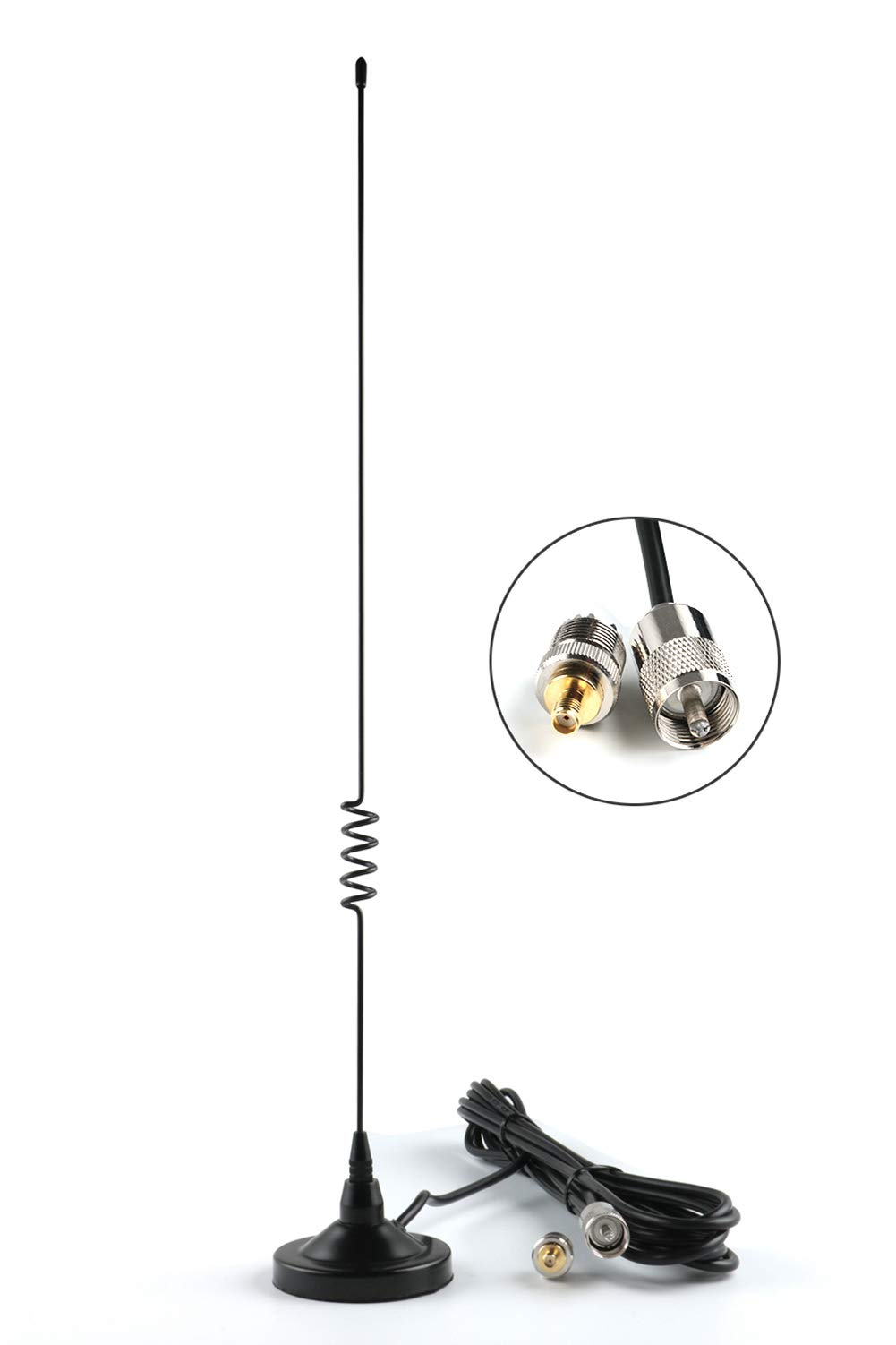 CB Radios Antenna Dual-Band VHF/UHF (136-174, 400-470 Mhz) with PL-259 Connector and SMA-F Adaptor and 16FT Cable for YAESU ICOM CB Radios by KCTIN