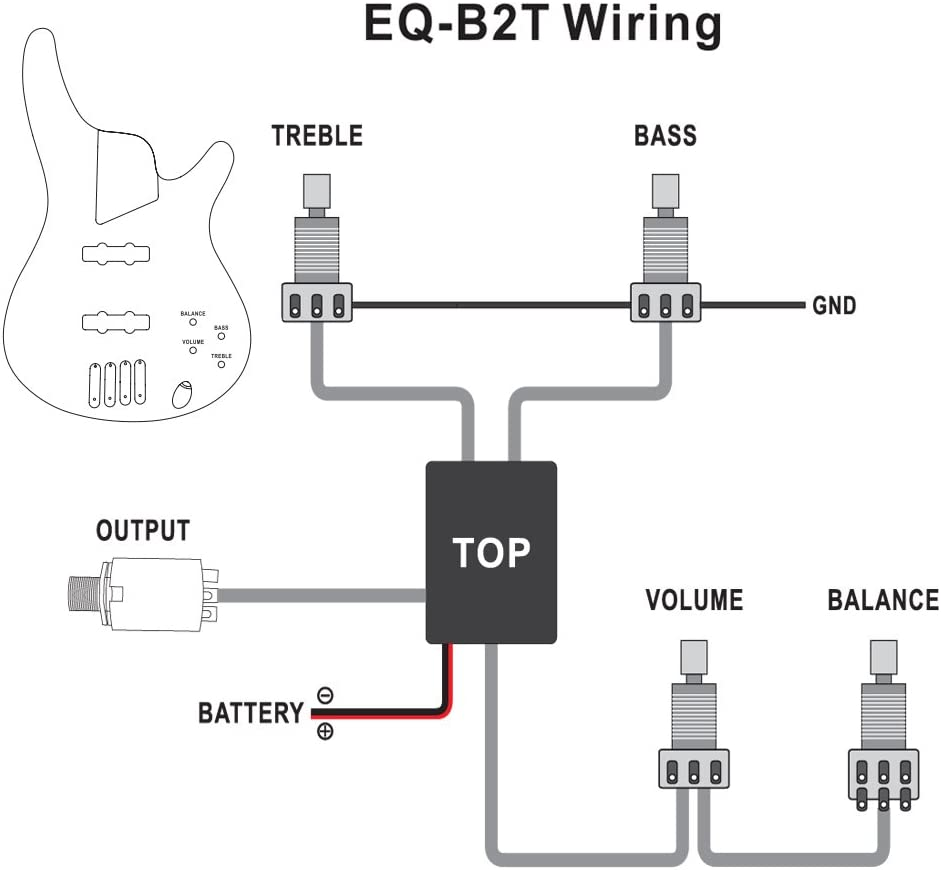 1pkg Belcat EQ-B2T 2 Band Active EQ Preamp Circuit for Bass Guitar with Output Jack