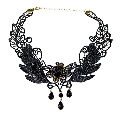 [Oxfox Halloween Lace Choker Necklace Women Pendant Clavicle Chain Gothic Black] (Family Themed Fancy Dress Costumes)
