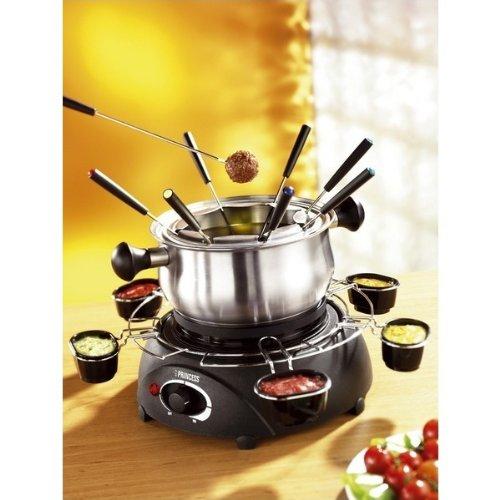 Princess 172665 - Fondue eléctrica (acero inoxidable, 6 cuencos para salsas, 8 tenedores): Amazon.es: Hogar