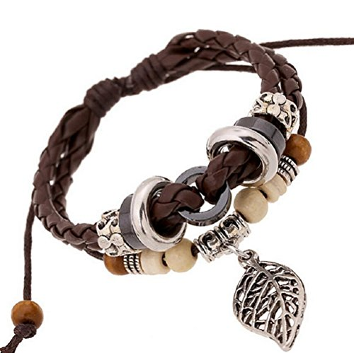 Fariishta Jewelry Bohemia Style Alloy Leaf Hand Braided Leather Wrap - Terminal Website Style