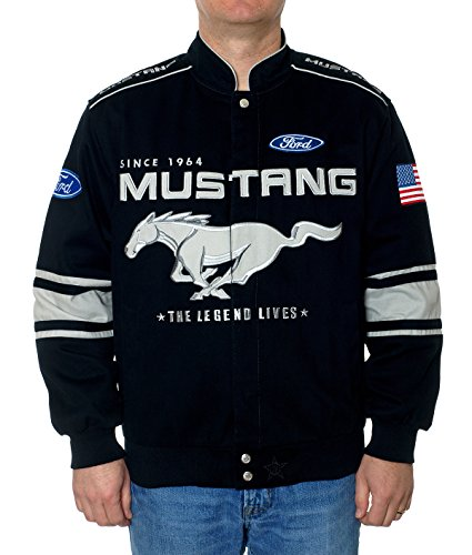 - JH Design Ford Mustang Jacket - Twill Collage Racing Style Jacket Black