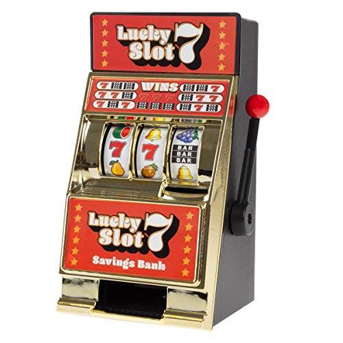 - Trademark Gameroom Slot Machine Coin Bank - Realistic Mini Table Top Novelty Las Vegas Casino Style Toy with Lever for Kids & Adults (Lucky 7S)