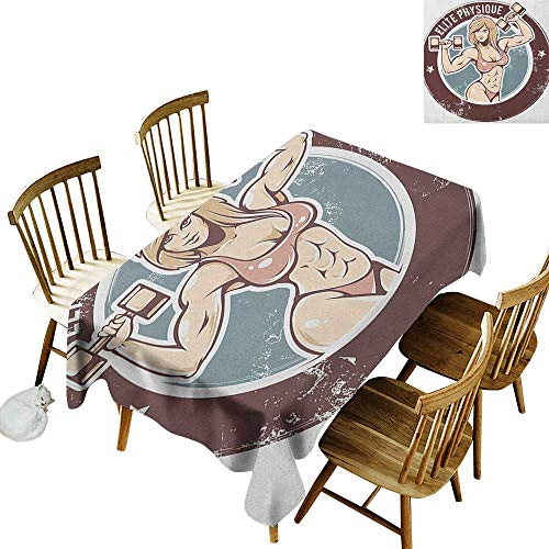 Cranekey Polyester Rectangular Tablecloth W60 x L84 Fitness Retro Style Sexy Lady with Dumbbells Elite Physique Grunge Display Chocolate Pale Pink Blue Great for Outdoors & More