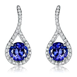 White Gold Tanzanite Diamond  Drop Earring