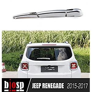 BIOSP 3 Pcs Chrome ABS Finish Rear Rain Window Wiper Cover Trim for Jeep Renegade 2015-2017,silver
