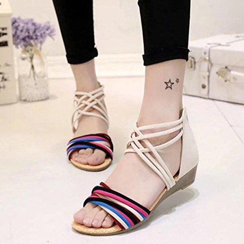 Calzado de mujer, Amlaiworld Bohemia Flat Sandalias Playa Thong Zapatos Beige