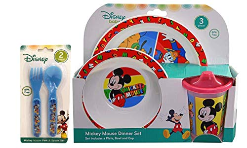 Mickey Mouse 5pc Toddler Mealtime Set! Plate, Bowl, Sippy cup, Fork & Spoon! BPA Free (Set Plates Mouse Mickey)