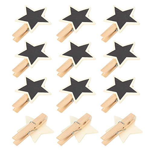 Star Shaped Note Holder - Mini Chalkboard Signs - 12-Pack Wooden Chalkboard Tags, Blackboard Labels with Clips for Memo, Food Label, Note, Party Decor, Star-Shaped, 3 x 2.3 x 0.6 inches