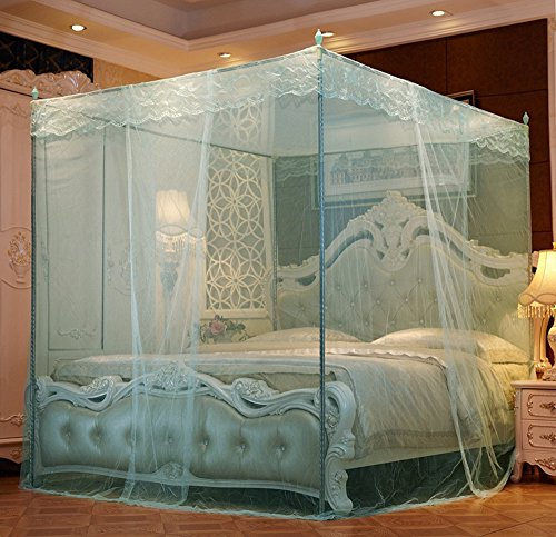Mosquito nets C CMosquito nets C C Palace nets three doors landing European encryption account yarn bold Princess nets,1.2x2.0m,Aqua green