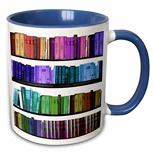 3dRose mug 112957 6 Colorful bookshelf bookshelves