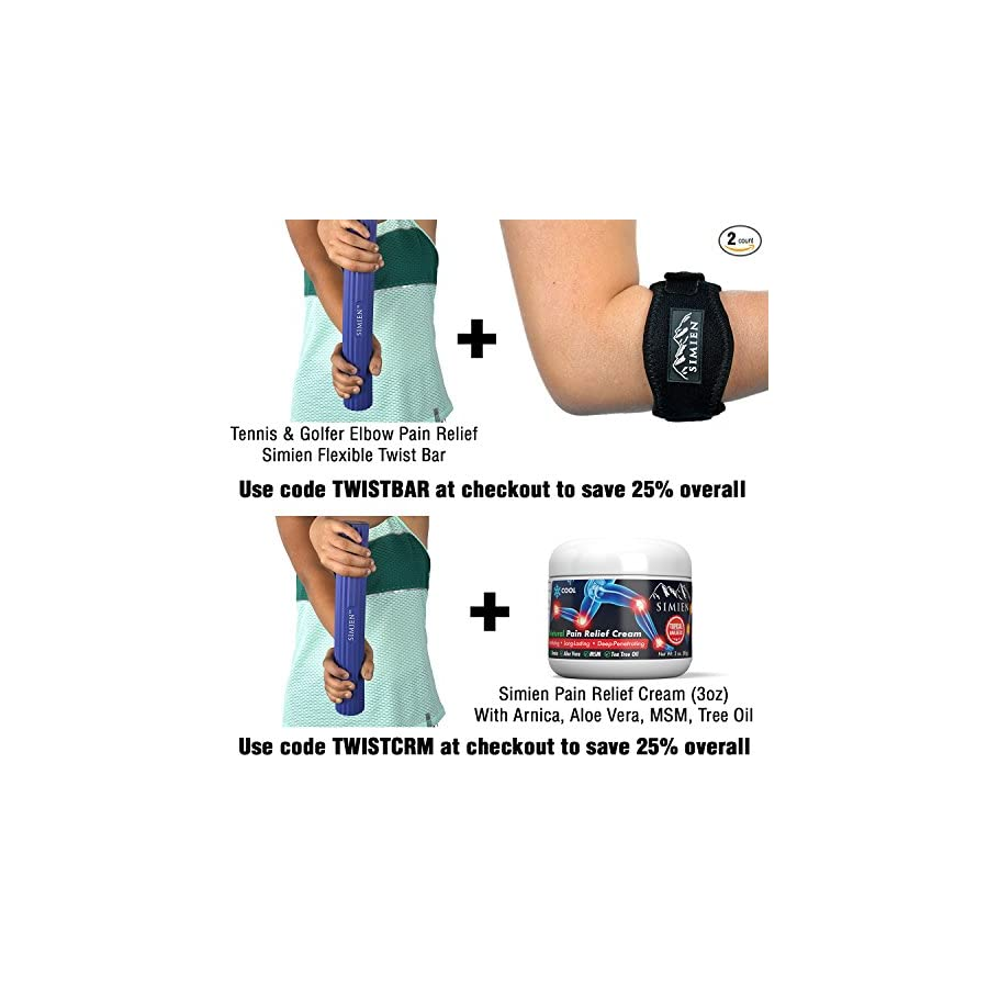 SIMIEN Flexible Rubber Twist Bar 3 Resistance Bar Levels In 1 Tennis Elbow, Golfer's Elbow, Tendonitis, Works With Brace & Sleeves Flex & Twist Elbow, Wrist, Forearm Pain Relief 2 BONUS eBooks