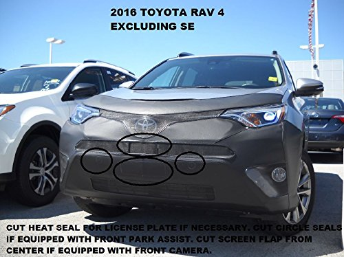 Lebra 2 piece Front End Cover Black - Car Mask Bra - Fits - 2016-2018 Toyota RAV4 Except SE Models