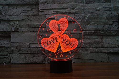 I Love You Gift 3D Illusion Night Light 7 Color A Great Anniversary Gift Idea or a Unique Way to Tell Someone How Much…