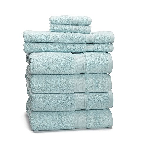 (900 GSM 8 Piece Towel Set - Luxurious 100% Egyptian Cotton, Heavy Weight & Absorbent - 4 Large Bath Towels 30x55, 2 Hand Towels 20x30, 2 Face Towels 13x13,)