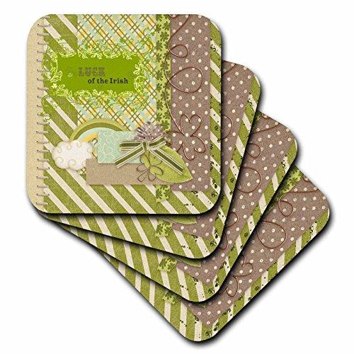 3dRose-Beverly-Turner-St-Patrick-Day-Design-Luck-of-the-Irish-Elegant-Green-Banner-Gold-Wire-Look-Shamrocks-Coasters