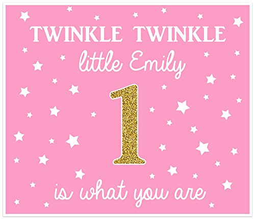 (Twinkle Twinkle Little Star Personalized Pink and Gold Birthday Banner)