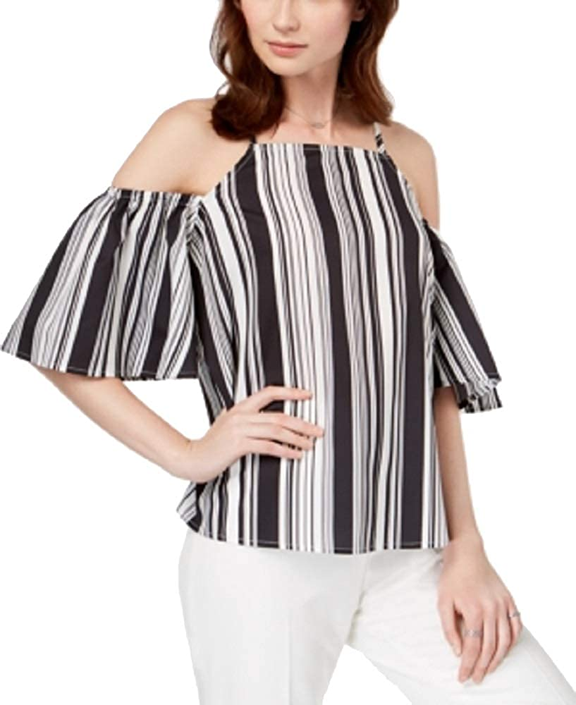 Almost Famous Juniors Striped Cold-Shoulder Top