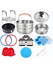 Pressure Cooker & Air Fryer Accessories Compatible with Instant Pot 6 Quart - Including Steamer Basket, Glass Lid, Silicone Sealing Rings, Egg Bites Mold, Springform Pan, Egg Steamer Rack and More