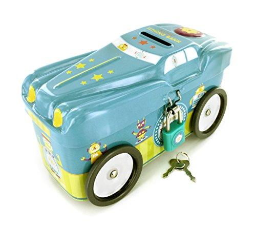 Boys Car Tin Tithing Bank   My First Tithing Bank   Rotating Wheels   Includes Lock   Keys