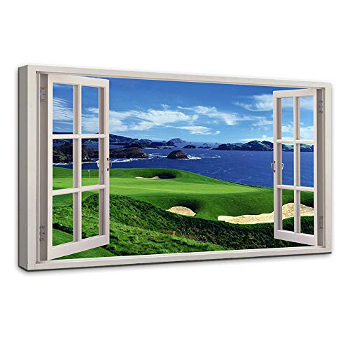 AMEMNY Modern Open Window Golf Course Landscape Painting Canvas Wall Art Posters and Clear Water Bule Sky Landscape Artwork HD Prints Pictures Decor for Living Room Framed Stretched Ready to Hang