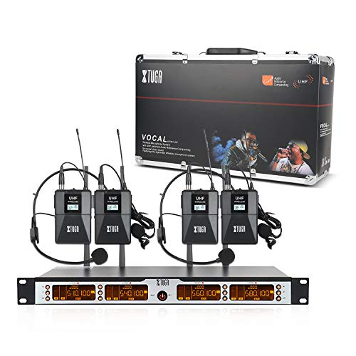 XTUGA SKM4000PLUS 4 x100 Channel UHF Wireless Bodypack Microphone System with Selectable Frequencies Prevent Interference, Use for Family Party, Church, Small Karaoke Night (Range:200-320Ft)