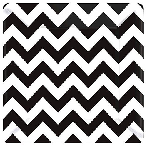Amscan Disposable Paper Plates in Chevron Print (8 Pack), 10 x 10, Black/White]()