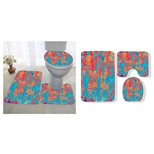 Avis N. Kirby three-piece toilet seat pad custom old and weathered grunge texture with different color patterns cyan blue red orange yellow