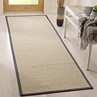 Safavieh Natural Fiber Collection NF131B Natural and Dark Grey Sisal Runner (26 x 8)