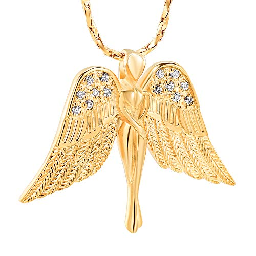 Imrsanl Cremation Jewelry with Angel Lady Charm Locket Memorial Ash Pendant - Urn Necklace for Ashes Wings Keepsake Jewelry for Women Girls (Gold) ()