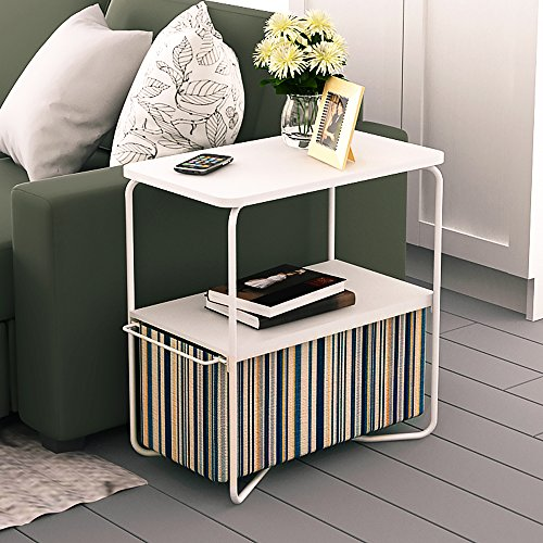 Creatwo End Table, 3 Tiers Wood Side Table/Coffee Table/Sofa Table with Storage Canvas Basket,Stripe