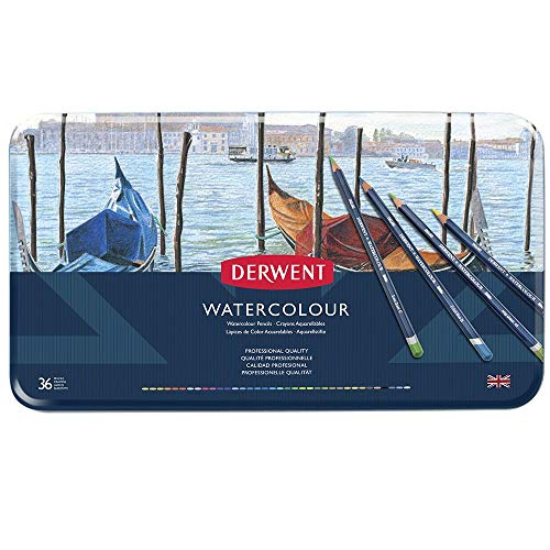 Derwent Colored Pencils, WaterColour, Water Color Pencils, Drawing, Art, Metal Tin, 36 Count (32885) (Collection Derwent Watercolor)