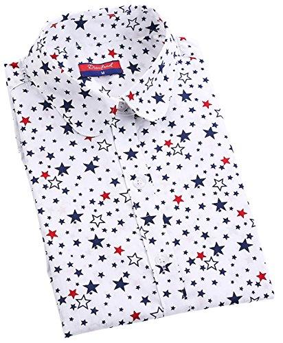 ハイジャック冗長ホテルDioufond 派手な星総柄 レディースブラウス 開襟長袖 プリント森ガールシャツ 2色