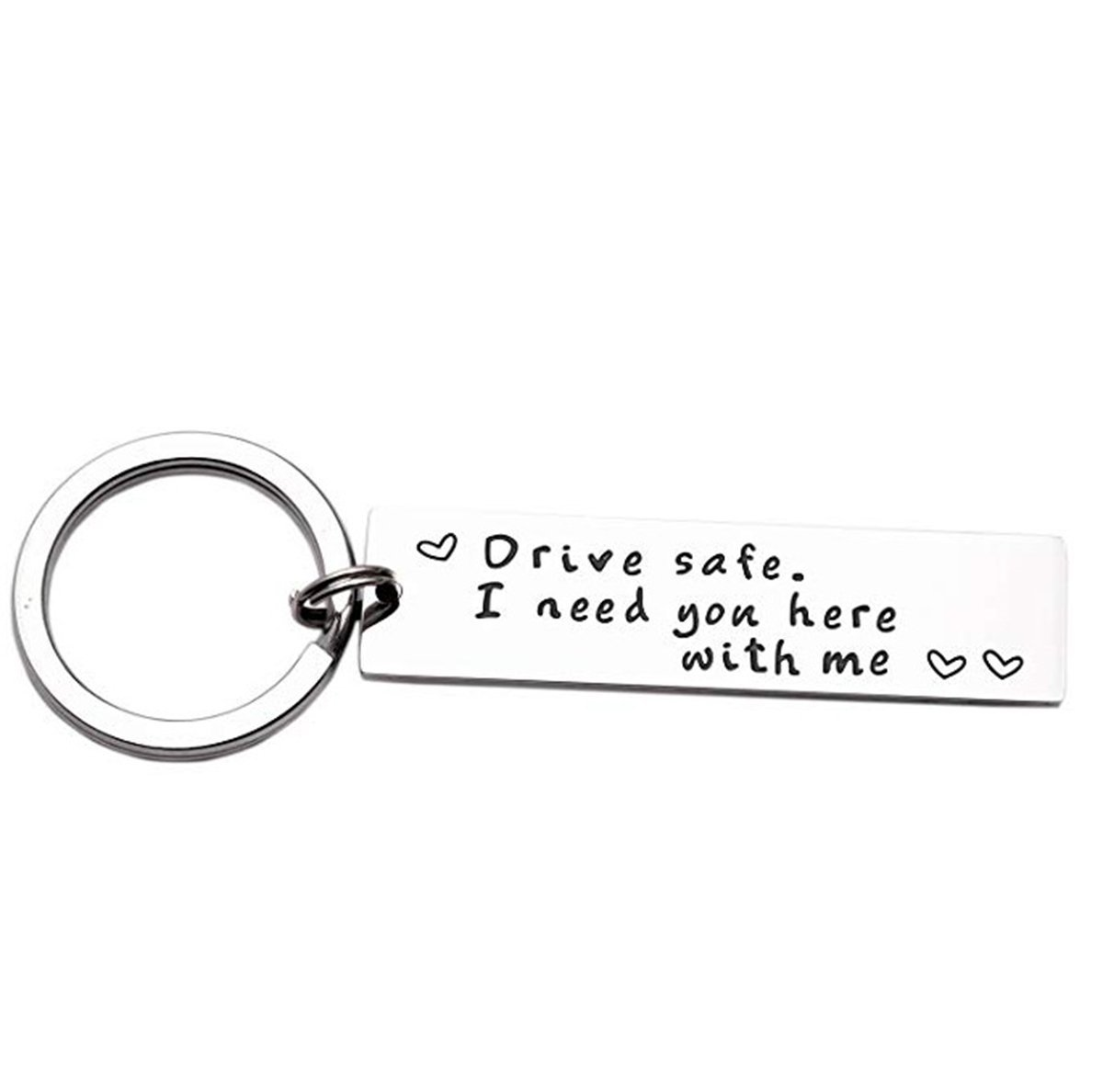 iWenSheng Drive Safe Handsome I Love You Keychain Gifts for Boyfriend  Husband Dad Valentines Day Gift Christmas Gift Stocking Stuffer, Staidness  Steel