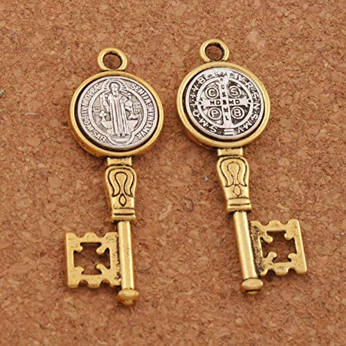Cell Saints (Cell's world - 5pcs Antique Silver and Gold Saint St Benedict Medal Cross Key Spacer Charm Beads Pendants Alloy Handmade Jewelry DIY L1692)