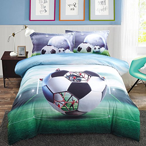 n Printed Soccer Football Bedding Sets,Boys Double Sports Duvet Cover Sets Bedsheet Sets with Flat Sheet and Pillowcases,Queen(88