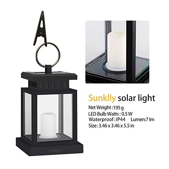 Patio Umbrella Lights - Sunklly Outdoor Waterproof LED Candle Lantern Decorated on Umbrella Tree Shepherd's Hooks (Yellow Light, Pack of 2) - ★ Perfect Shape: Antique lantern and Retro style design, Sunklly umbrella lights decorate your life and perfect show your graceful taste in any place ★ Romantic Environment: Solar umbrella lights emit a faint yellow light and keep flashing like the wind blows over candles, create a romantic and comfortable space ★ Tiny And Portable: Solar candle lantern with a cute clamp, Very durable and powerful, can be hung on umbrella, tent, tree and elsewhere, decorate your environment when you are fishing, camping, partying and so on - patio, outdoor-lights, outdoor-decor - 515mSAxQlyL. SS570  -