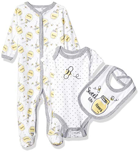 Quiltex Girls' Toddler Honey Bee Long-Sleeve Coverall Creeper/Bib 3 Piece Set, 3-6 - Piece 3 Bee Set